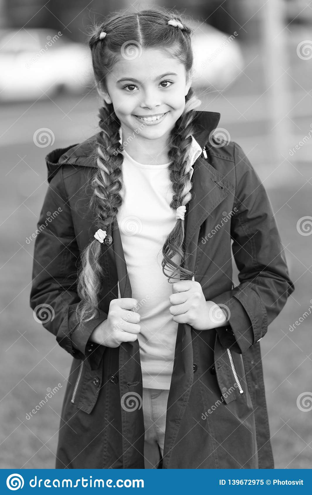 Girl With Braided Hair Style With Pink Kanekalon Add Bright Detail Little Girl With Cute Braids Wear Dark Coat Nature Stock Image Image Of Adorable Girl 139672975