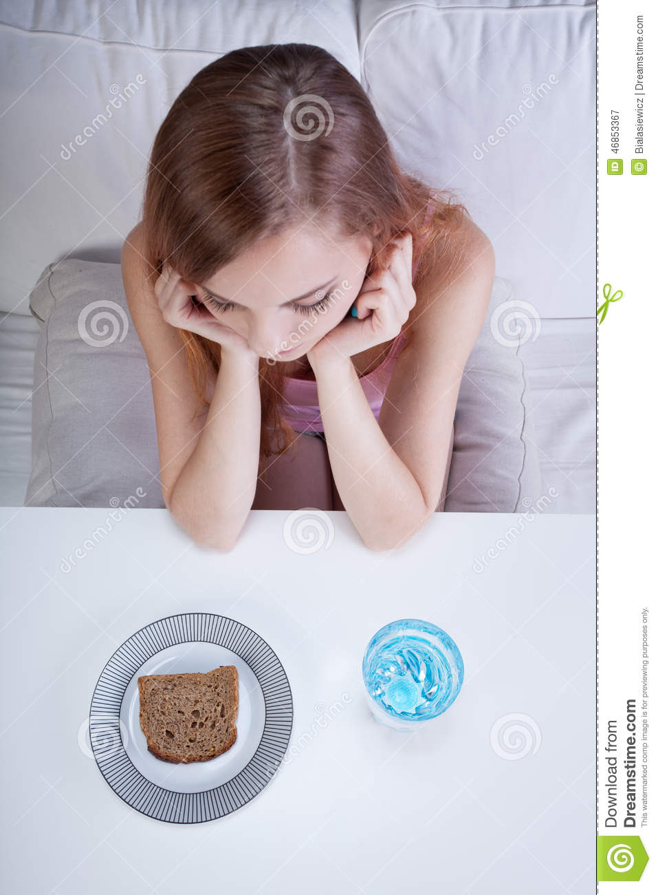 Girl On A Bread And Water Diet Stock Image Image Of Person Girl 46853367