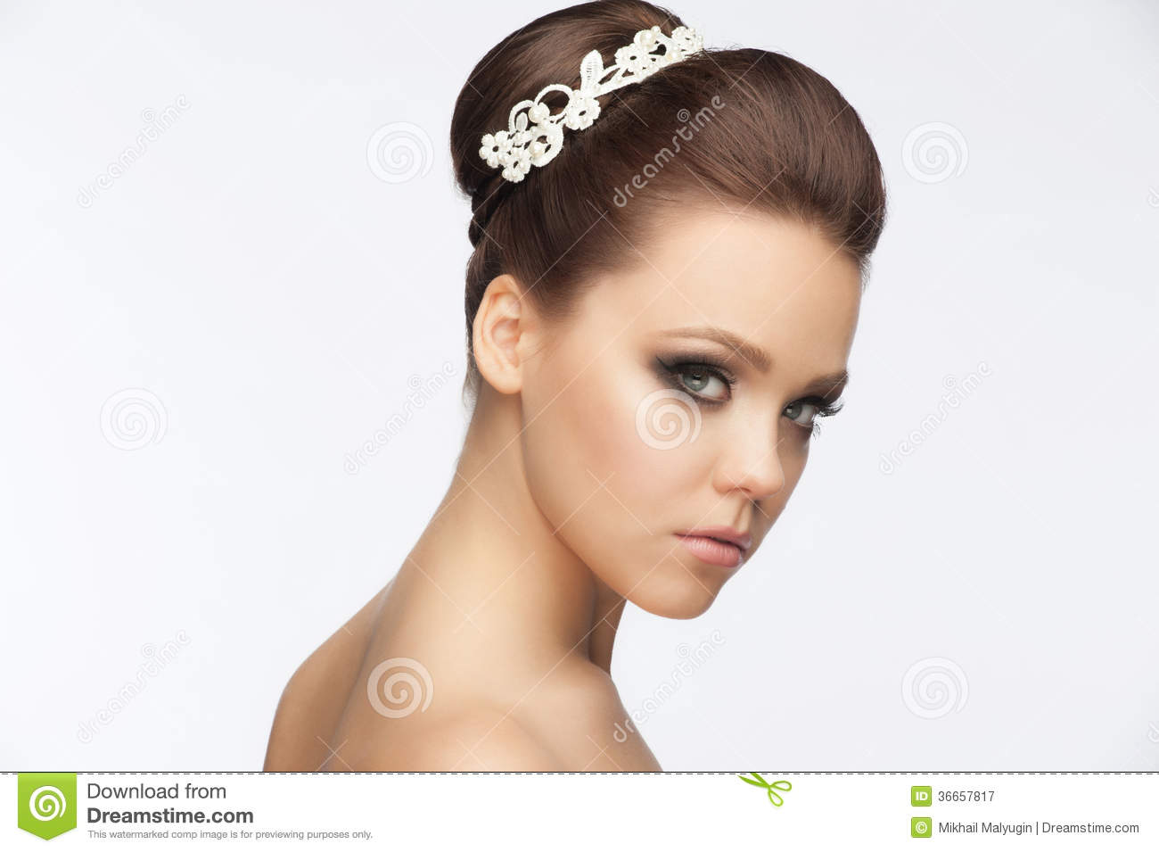 girl with bridal hairstyle and makeup royalty free stock