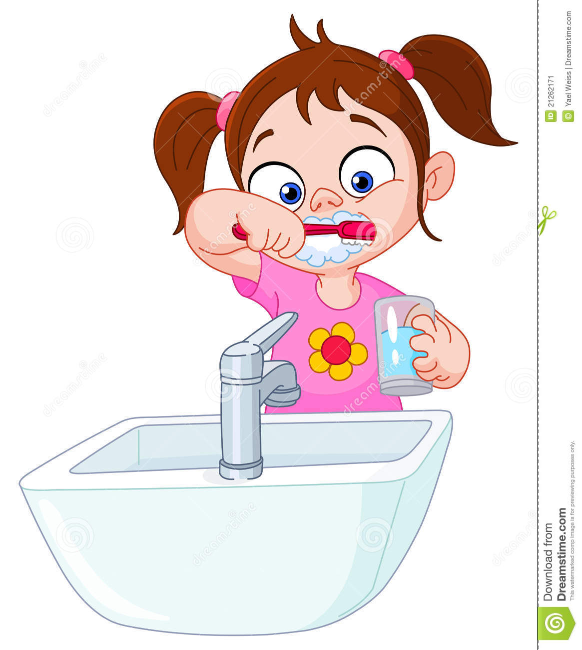 Cute Toothbrush Drawing Girl Brushing Teeth St...