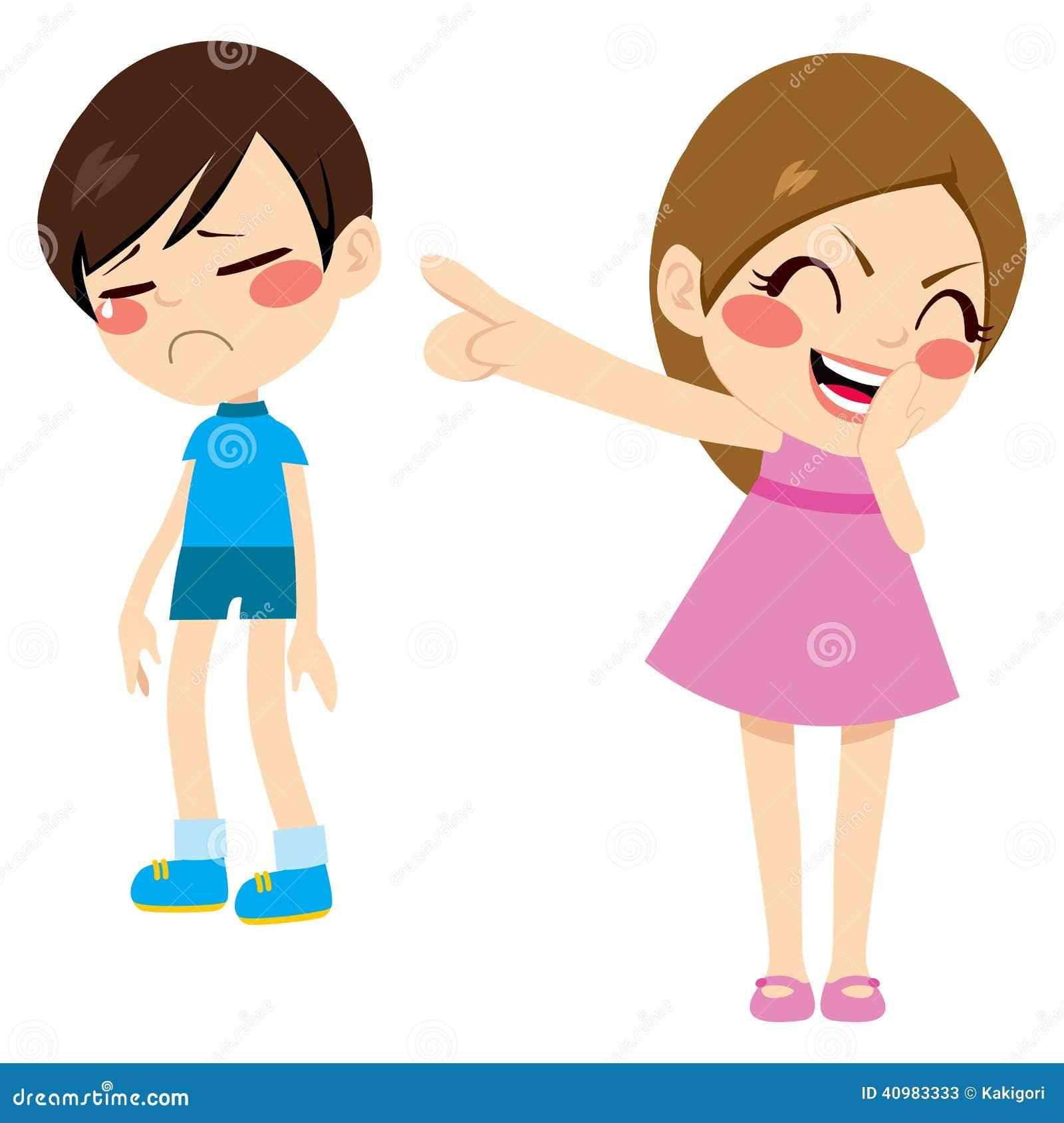 Evil little girl bullying poor sad boy kid pointing finger laughing ...