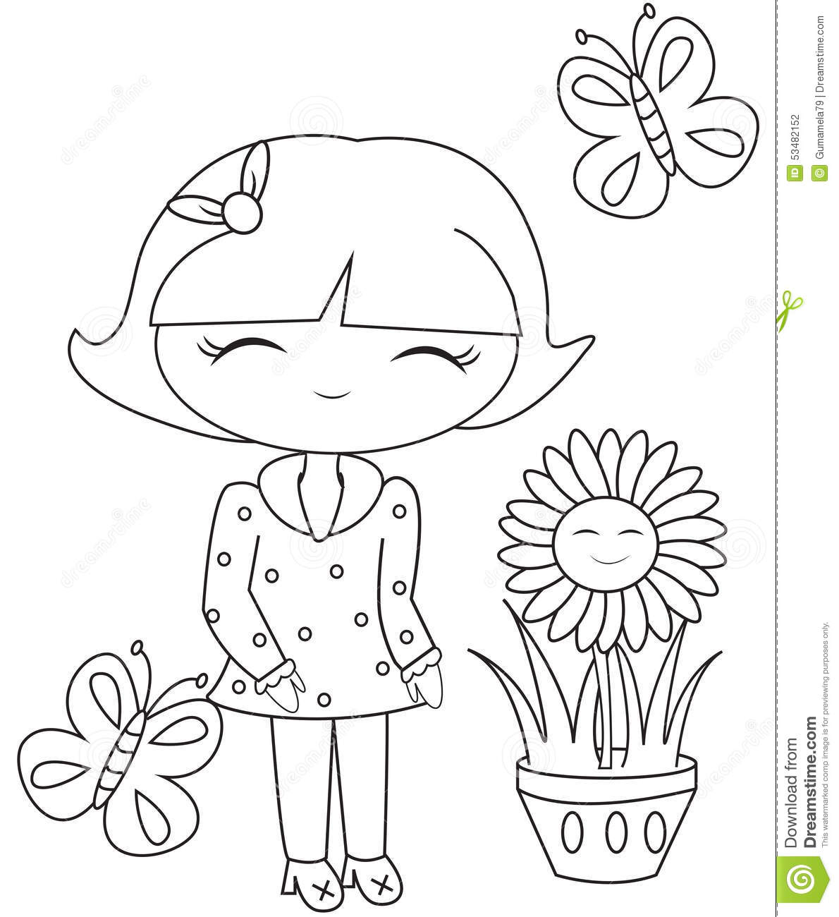 Royalty Free Illustration Download Girl With Butterflies And A Flower Pot Coloring Page