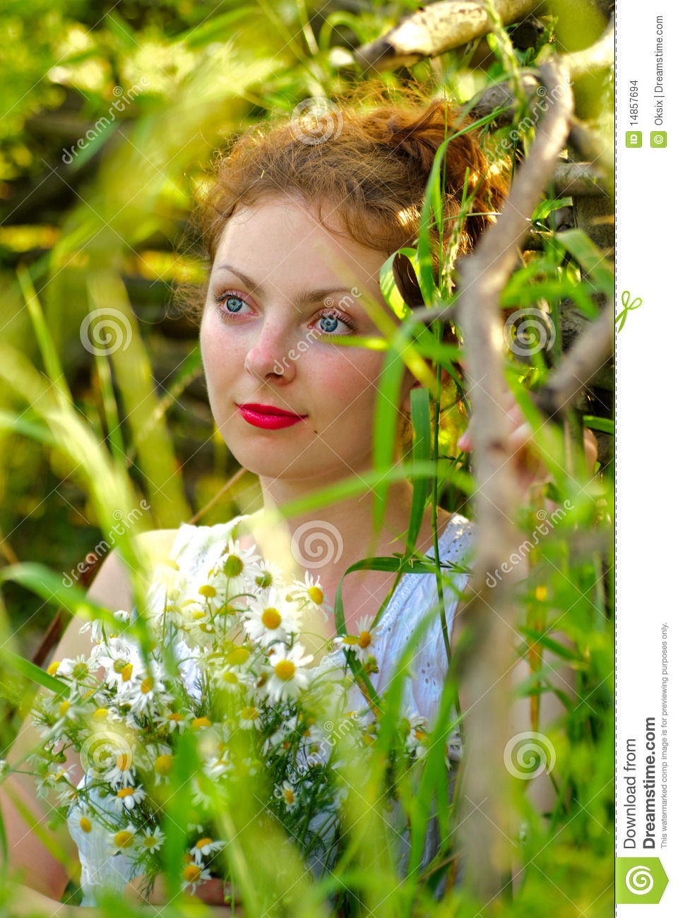 Girl with camomile