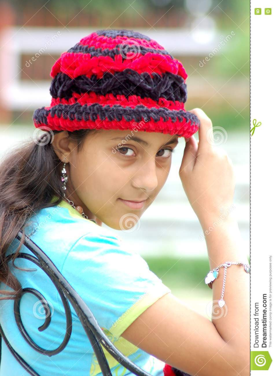 Girl With Cap Stock Photo Image Of Person Child Teens