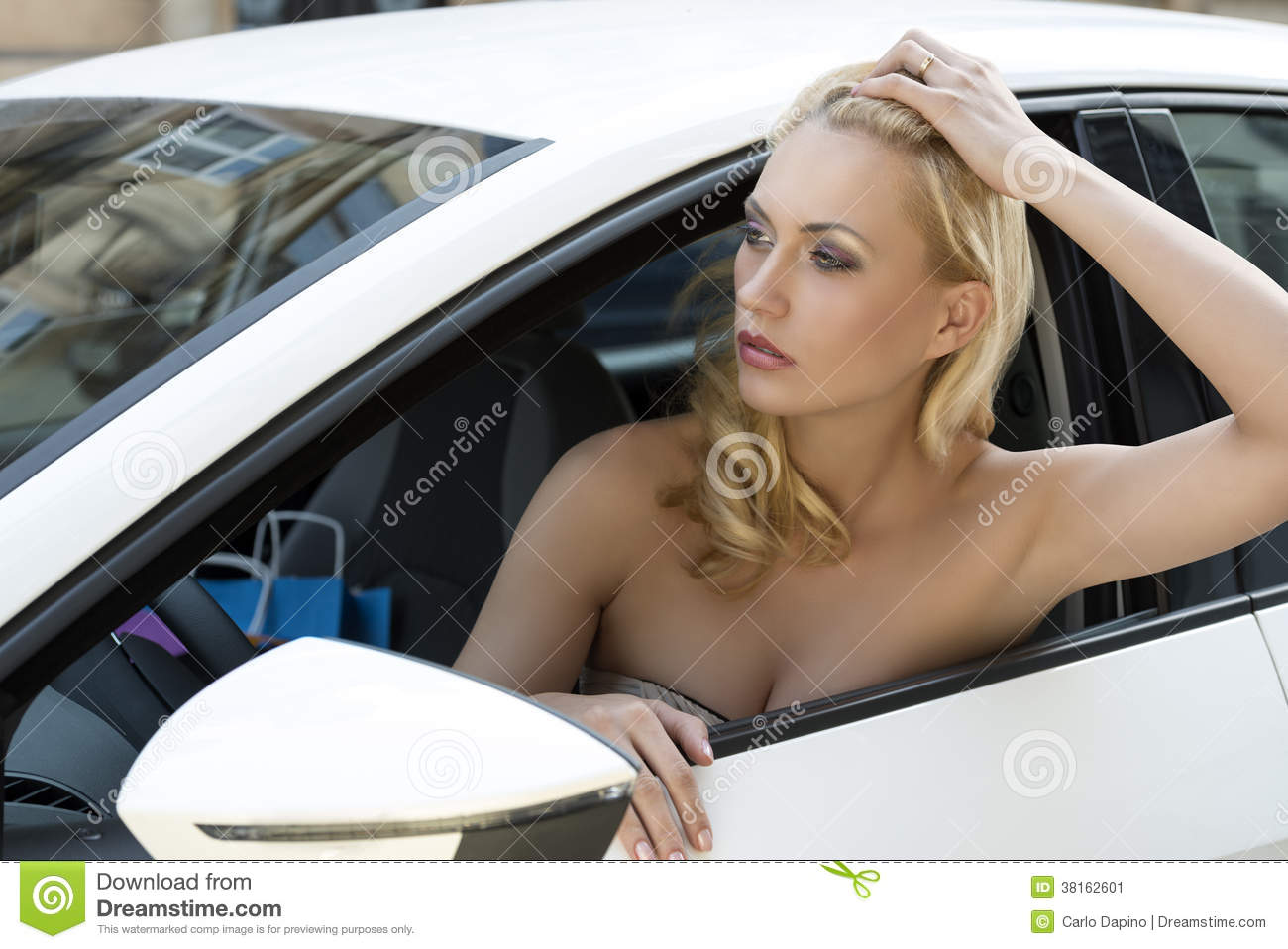 Girl In A Car With Shopping Bag Stock Image Image 38162601