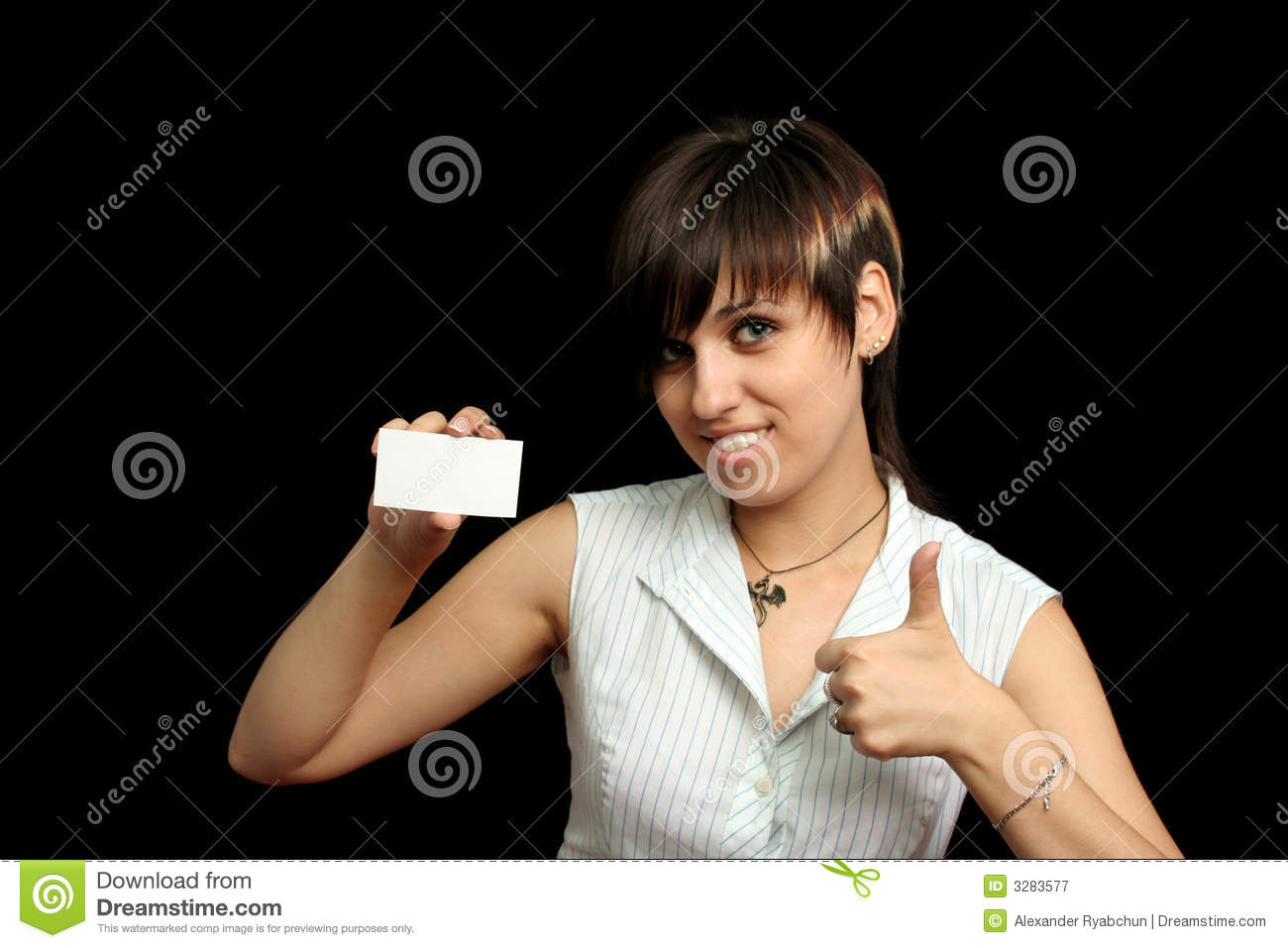 Girl with card and OK