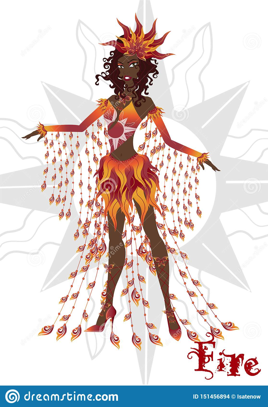 Girl in carnival dress, representing the fire element, articulated doll