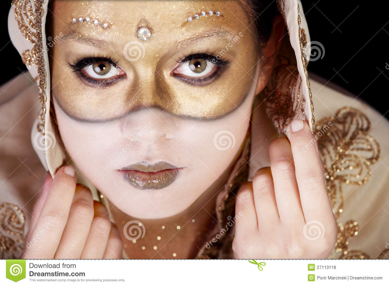 girl in a carnival mask painted on her face stock photo image of feminine glamour 27113118. Black Bedroom Furniture Sets. Home Design Ideas