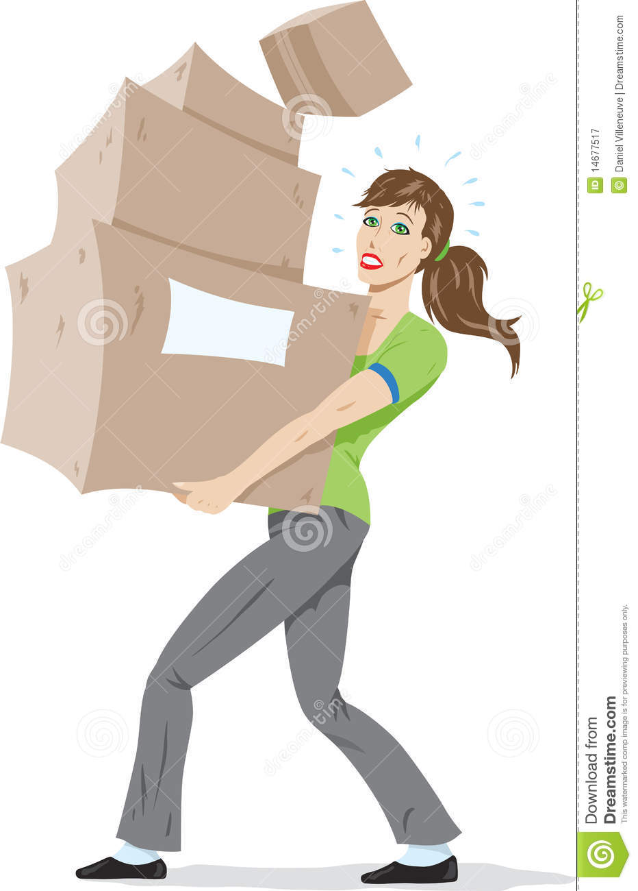 Girl Carrying Boxes Stock Vector Image Of Cardboard