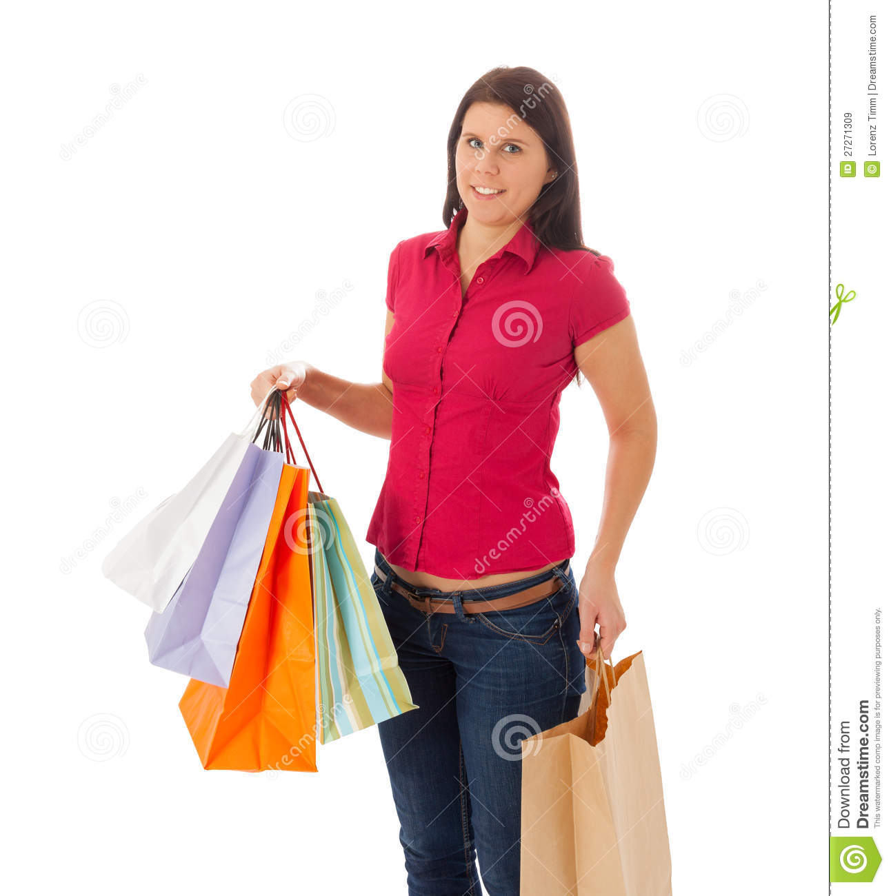 The Girl Is Carrying A Lot Of Shopping Bags Royalty Free Stock ...