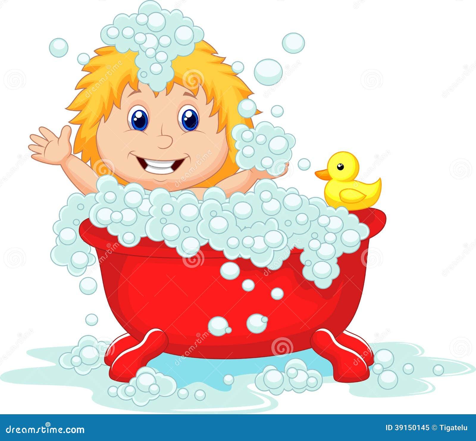 Girl Cartoon Bathing In The Red Bath Tub Stock Vector