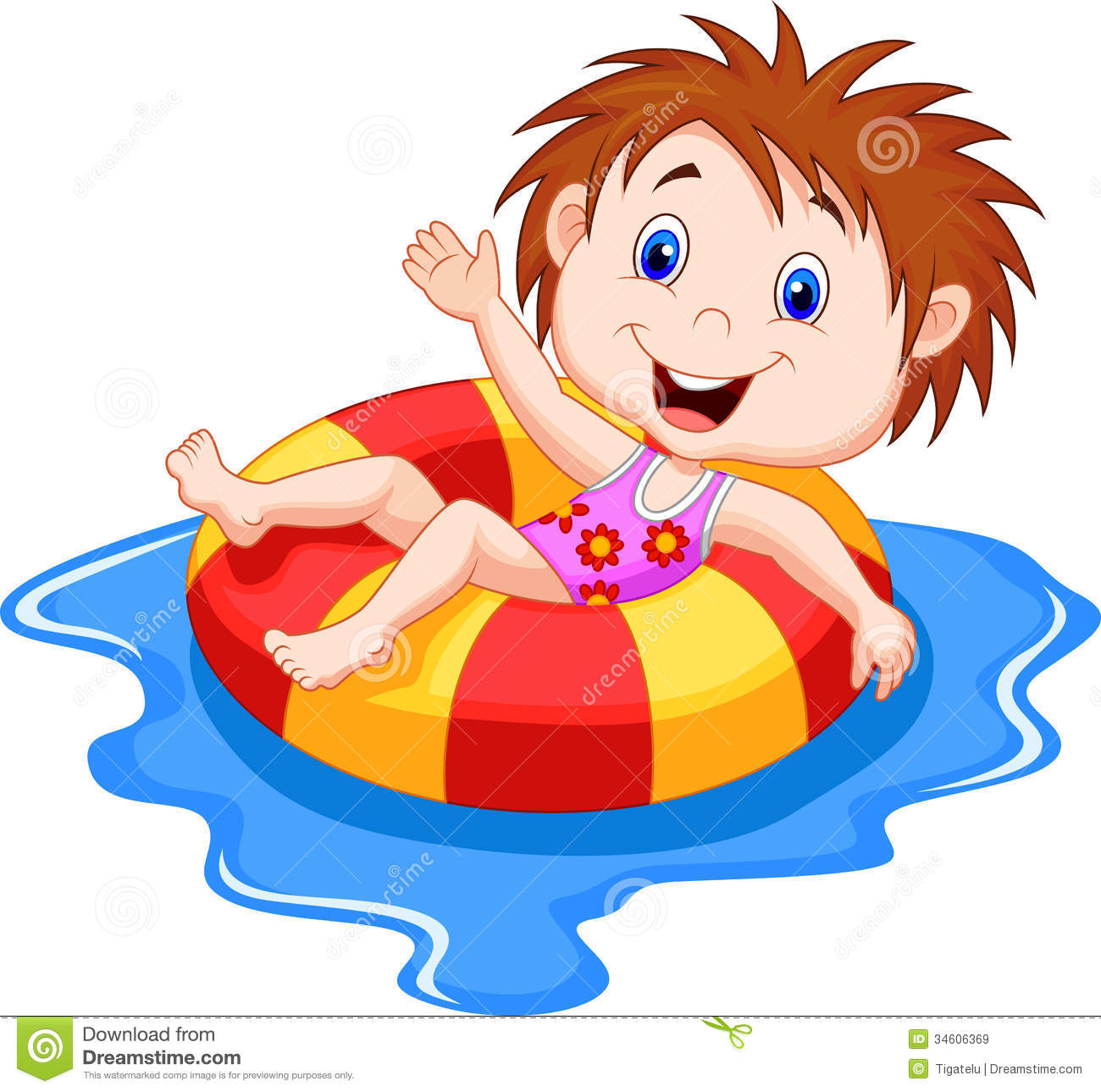 Girl Cartoon Floating On An Inflatable Circle In The Pool Royalty Free Stock Images Image