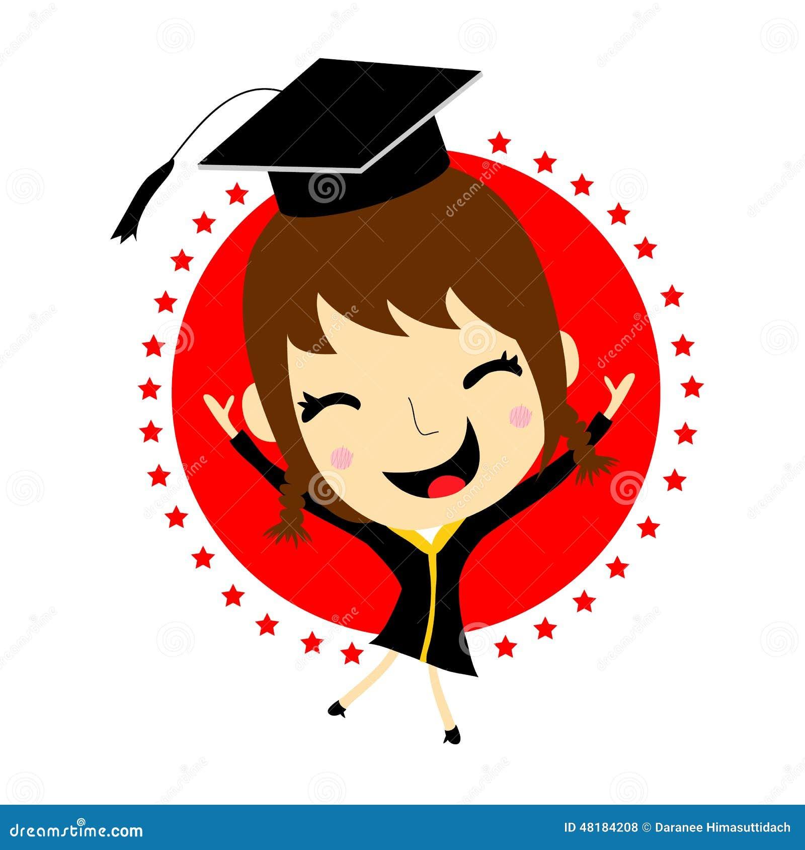 Girl Cartoon Graduation Vector Stock Vector - Image: 48184208