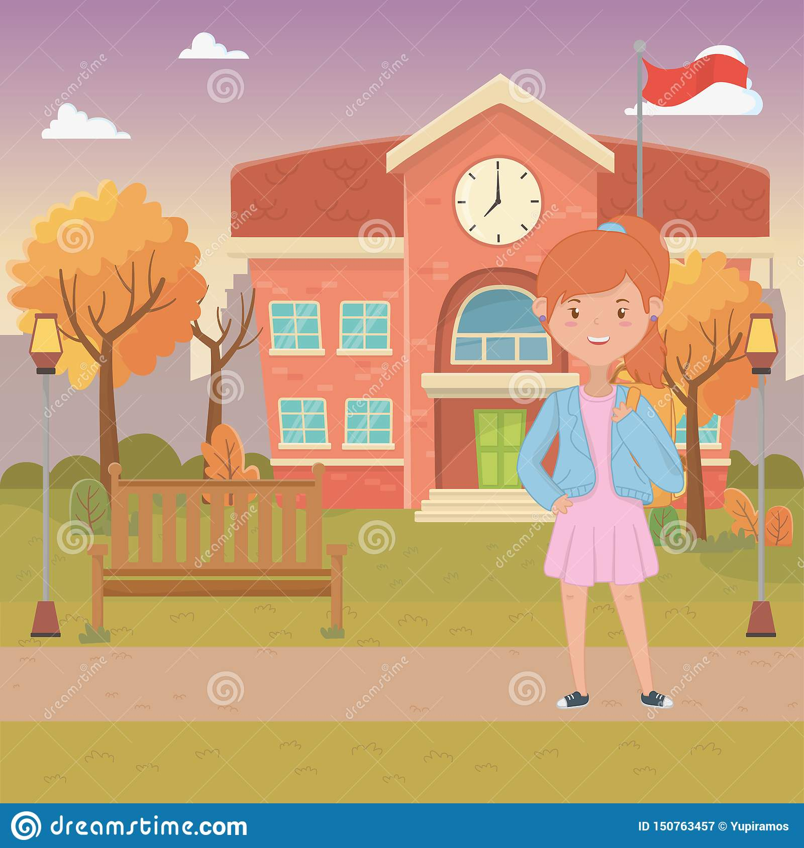 Girl cartoon of school design