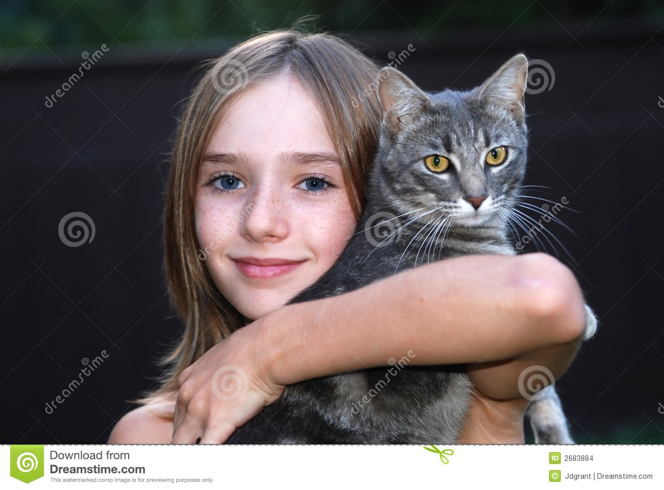Download Girl with cat stock photo. Image of face, lovely, makeup - 2683884