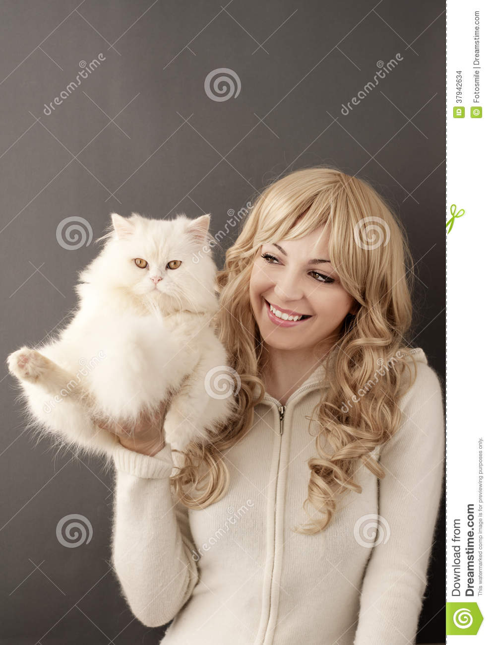 Girl And Cat Stock Photo Image Of Hilarious Perfect