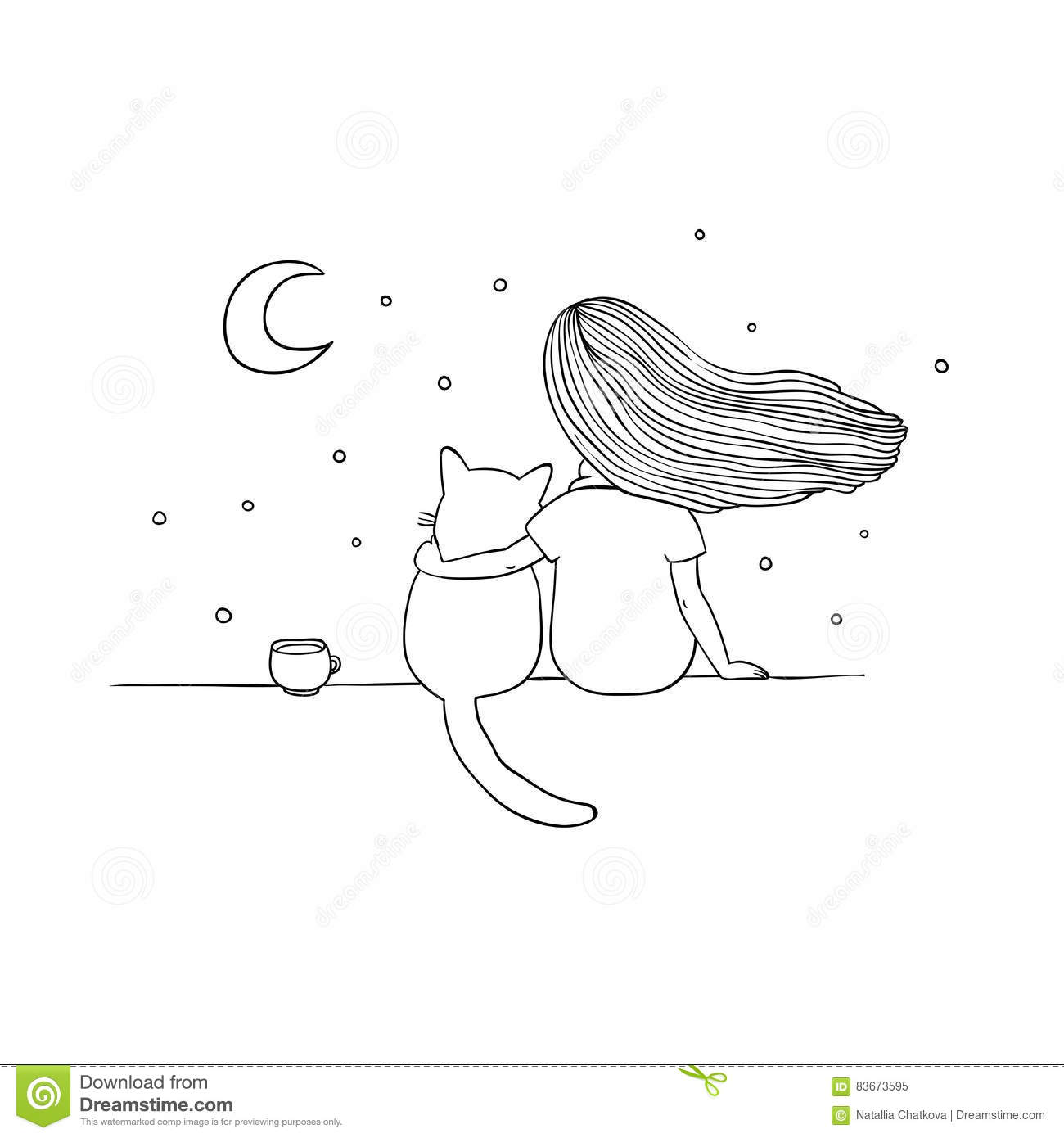 Girl and a cat on the roof stock vector illustration of
