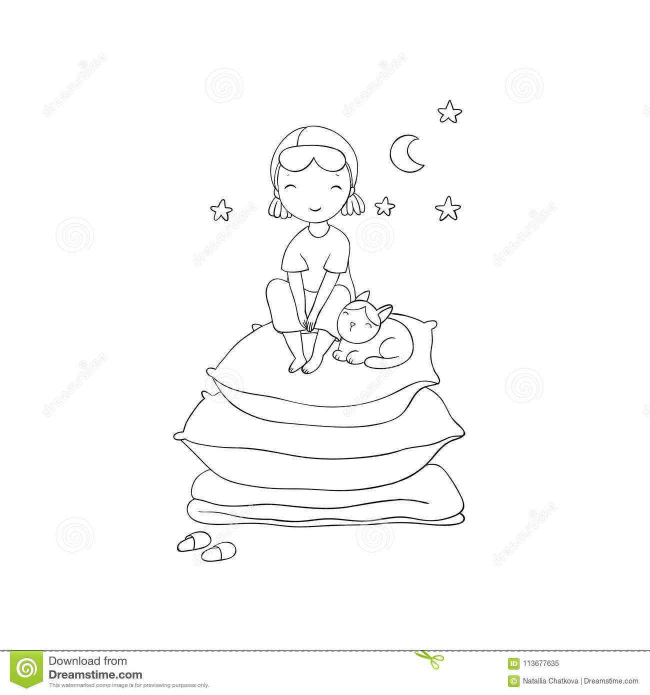 Girl And Cats Good Night Sweet Dreams Stock Vector Illustration