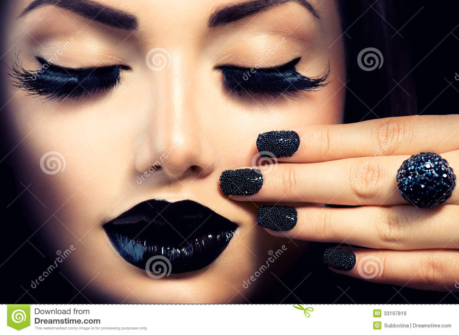 Girl with Caviar Black Manicure
