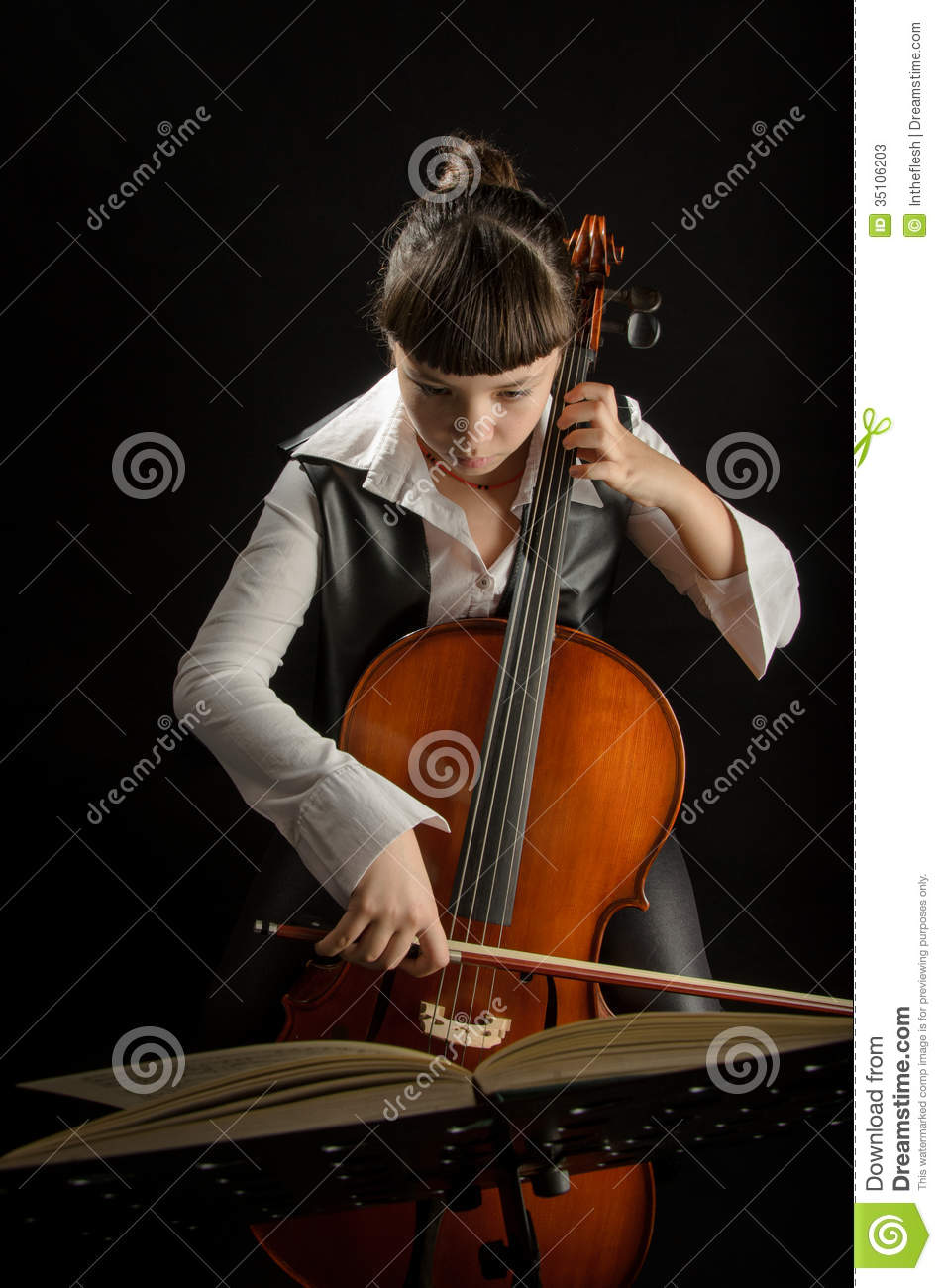 Girl With Cello On Black Background Stock Photos - Image ...