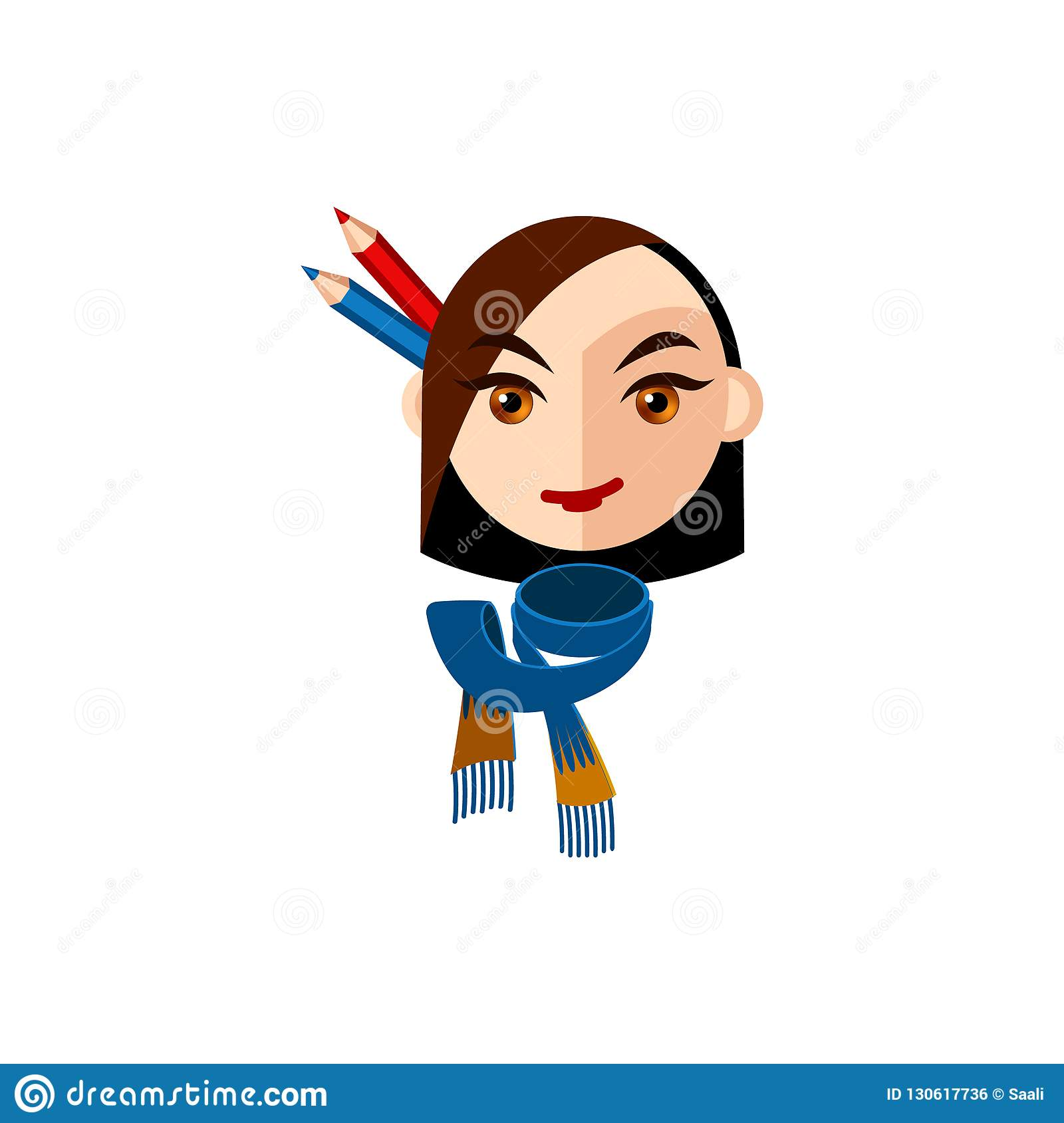 Girl Character With Brown Eyes And Brown Straight Hair Female Character Face With Blue Scarf And Pencils Mascot For A Creative W Stock Vector Illustration Of Creative Lady 130617736
