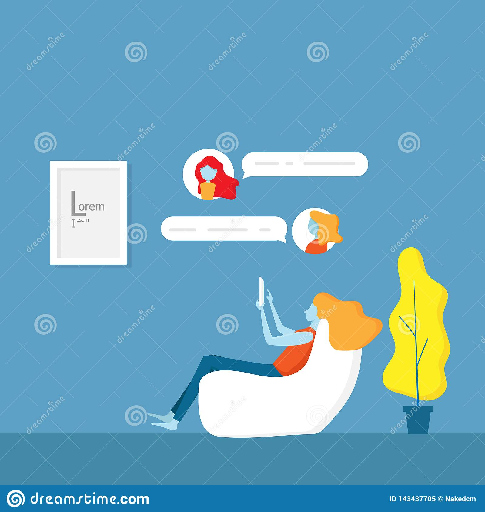 Girl And Chat Application With Her Friends Stock Vector