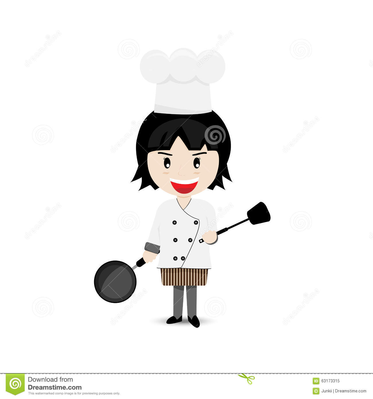 Girl Chef Cartoon Character Vector Design Stock