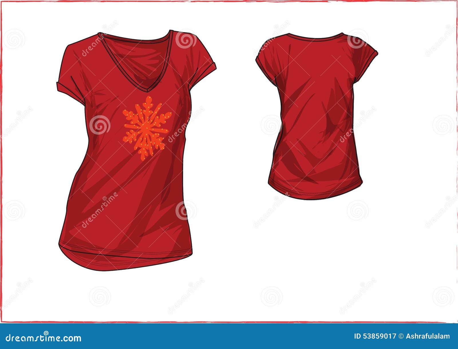Shirt design red - Girl Chest Motif T Shirt Design Templates