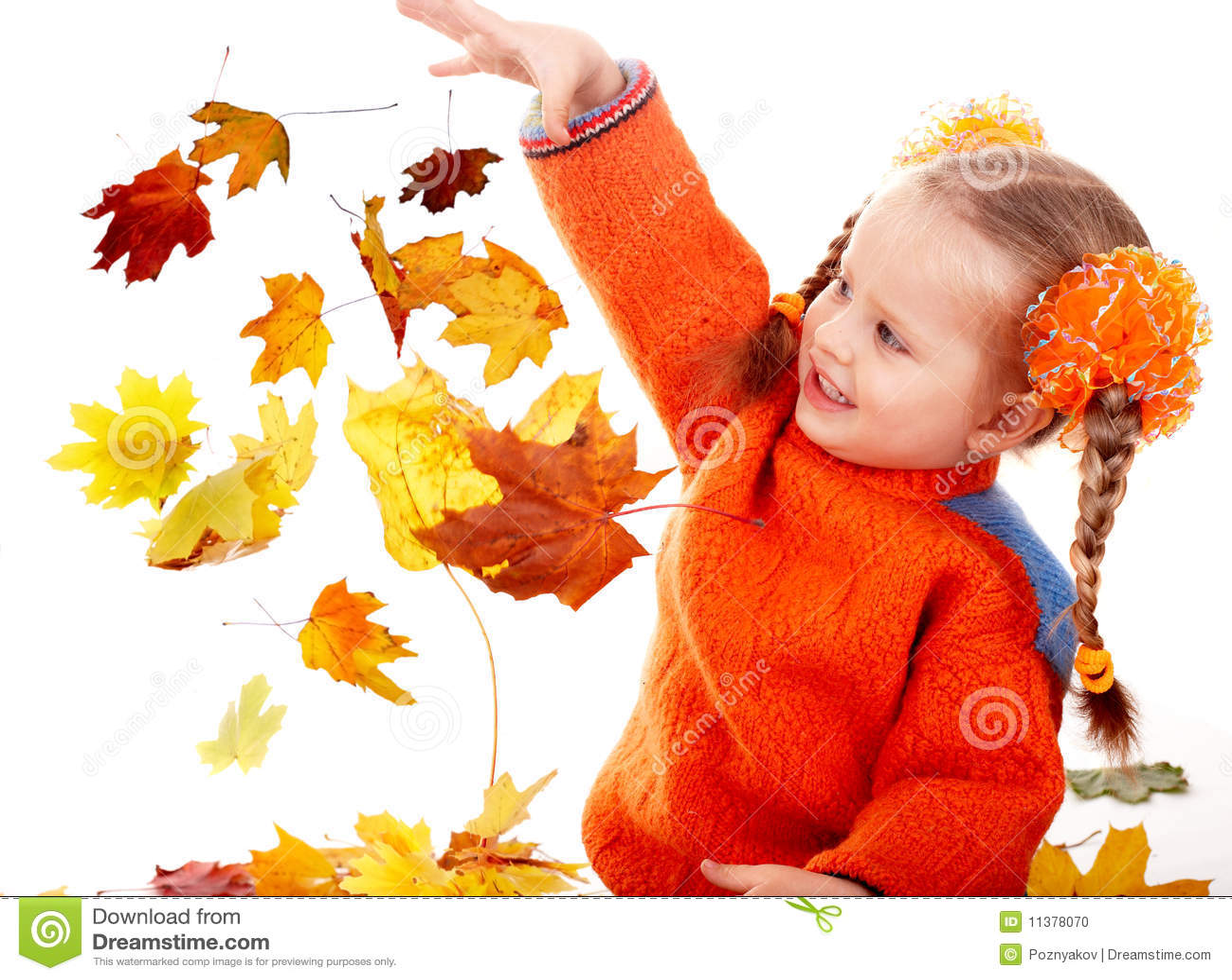 Girl child in autumn orange leaves. Fall sale.