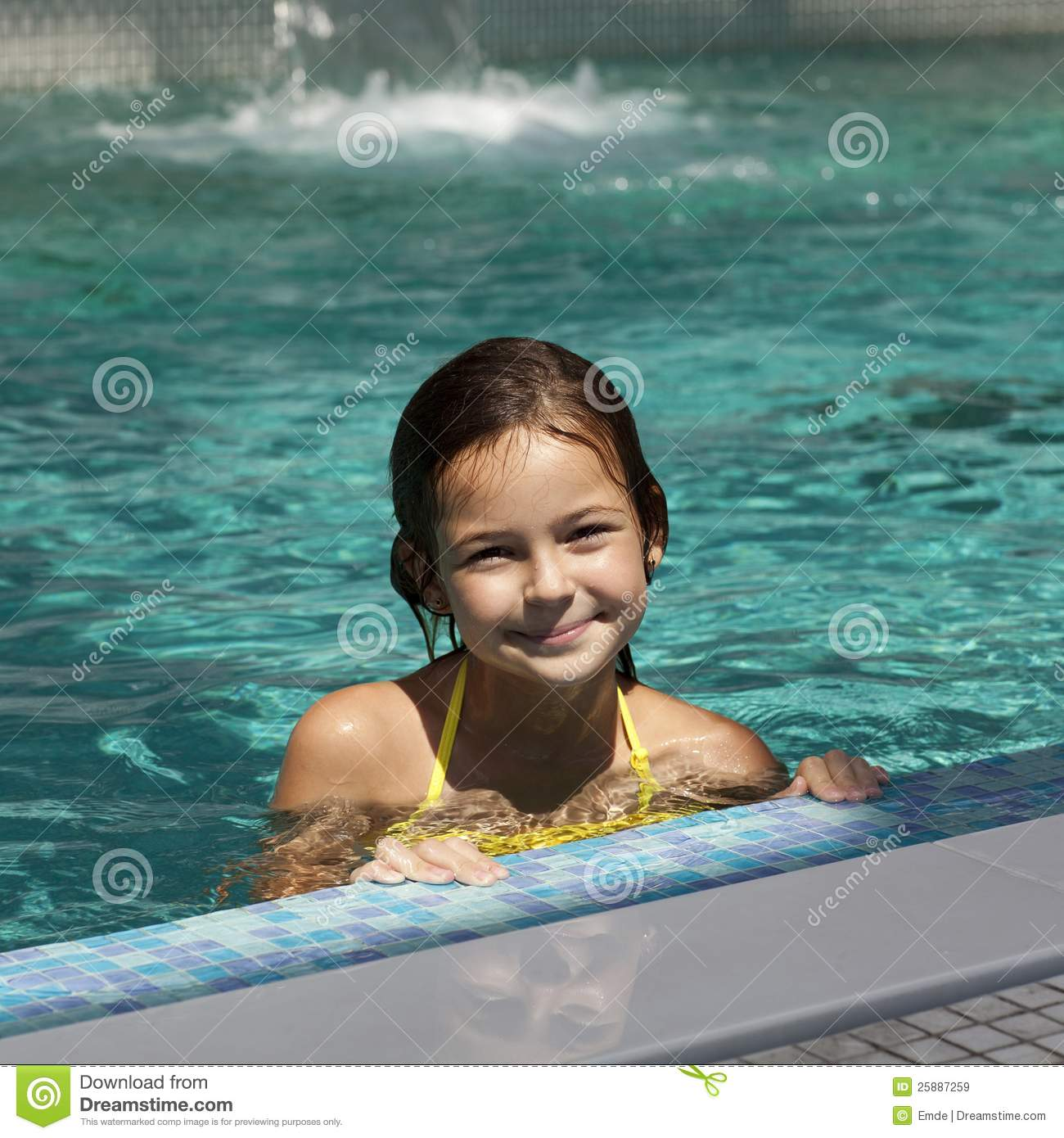 Girl Child In Blue Water Of The Swimming Pool Royalty Free Stock Images Image 25887259