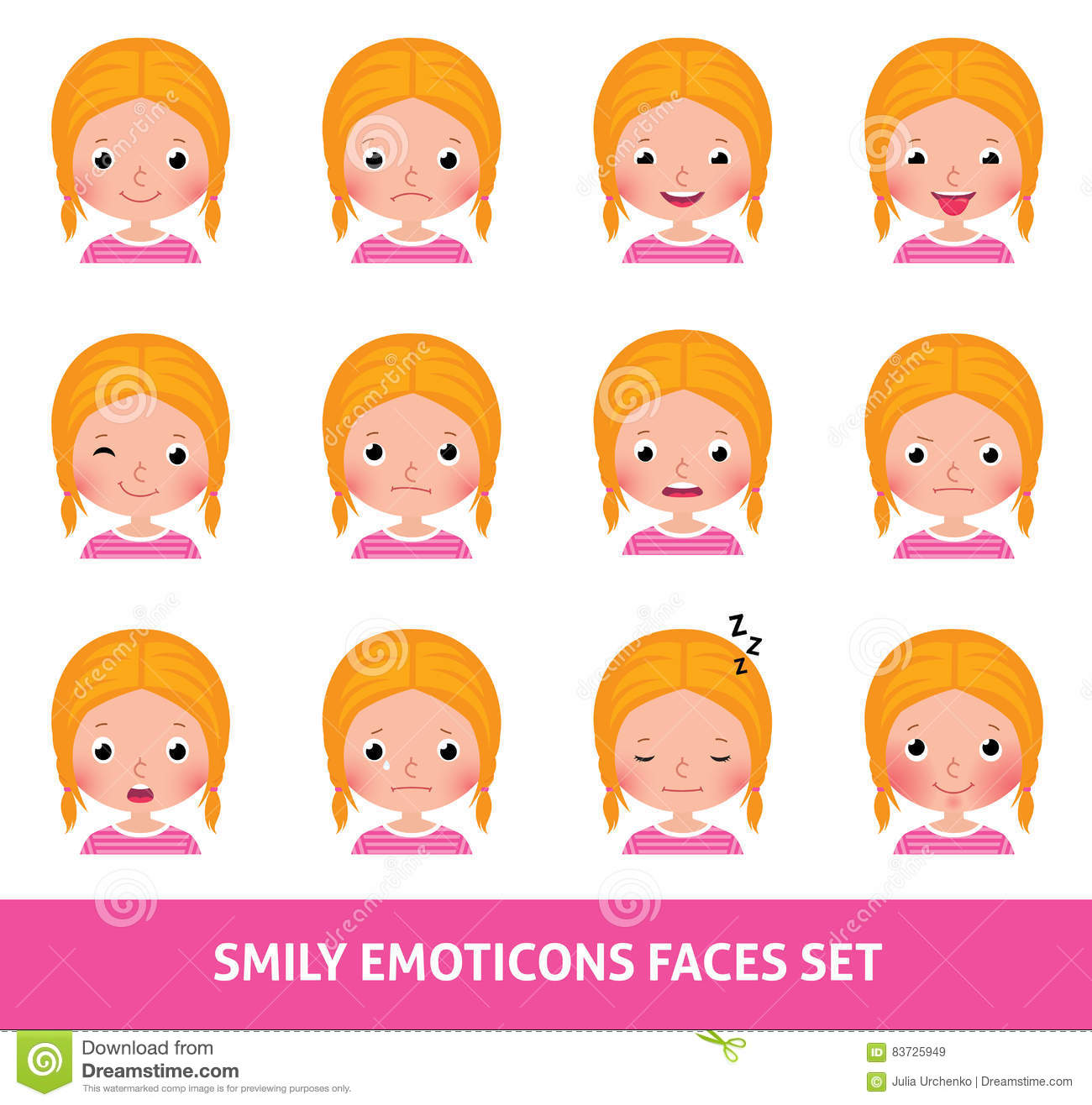 Girl child cute emoji set smily emoticons faces stock vector girl child cute emoji set smily emoticons faces buycottarizona Images