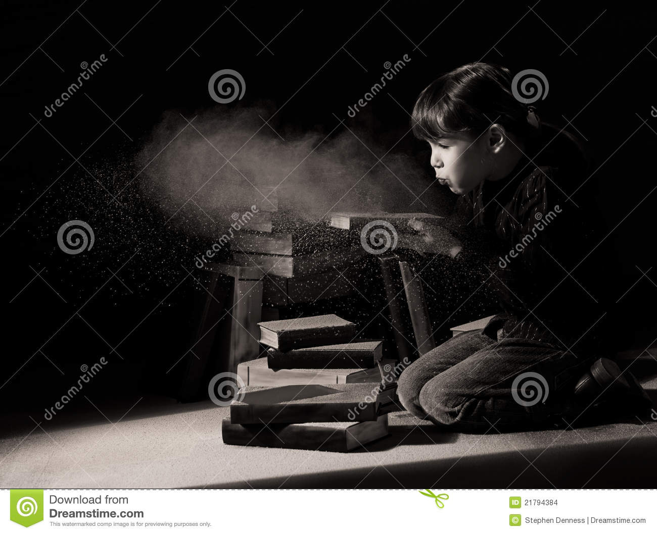 Download Girl Child Discovering Hidden Books In Attic Stock Photo - Image of dusty, child: 21794384