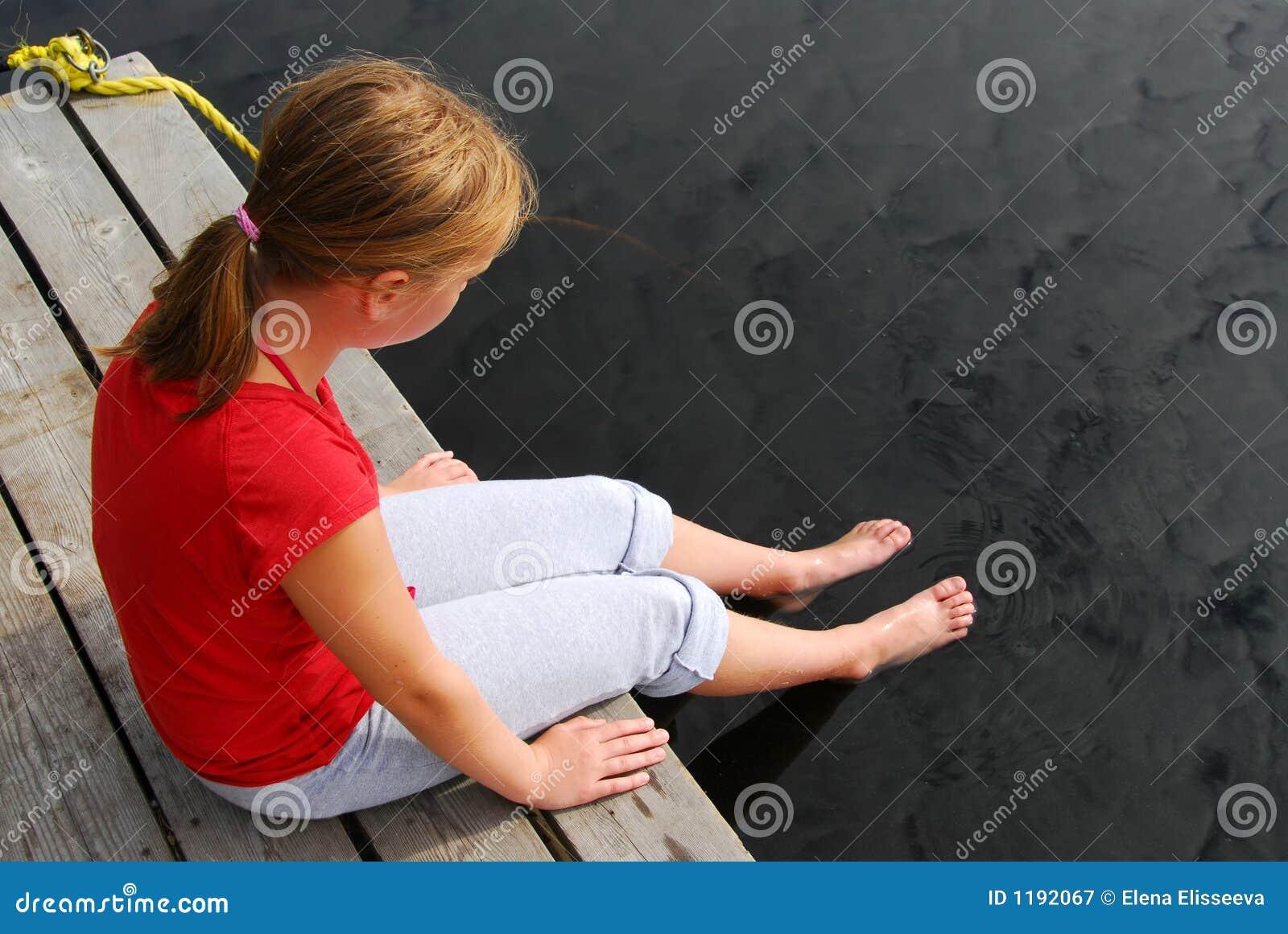 Girl Child Dock Royalty Free Stock Photography Image