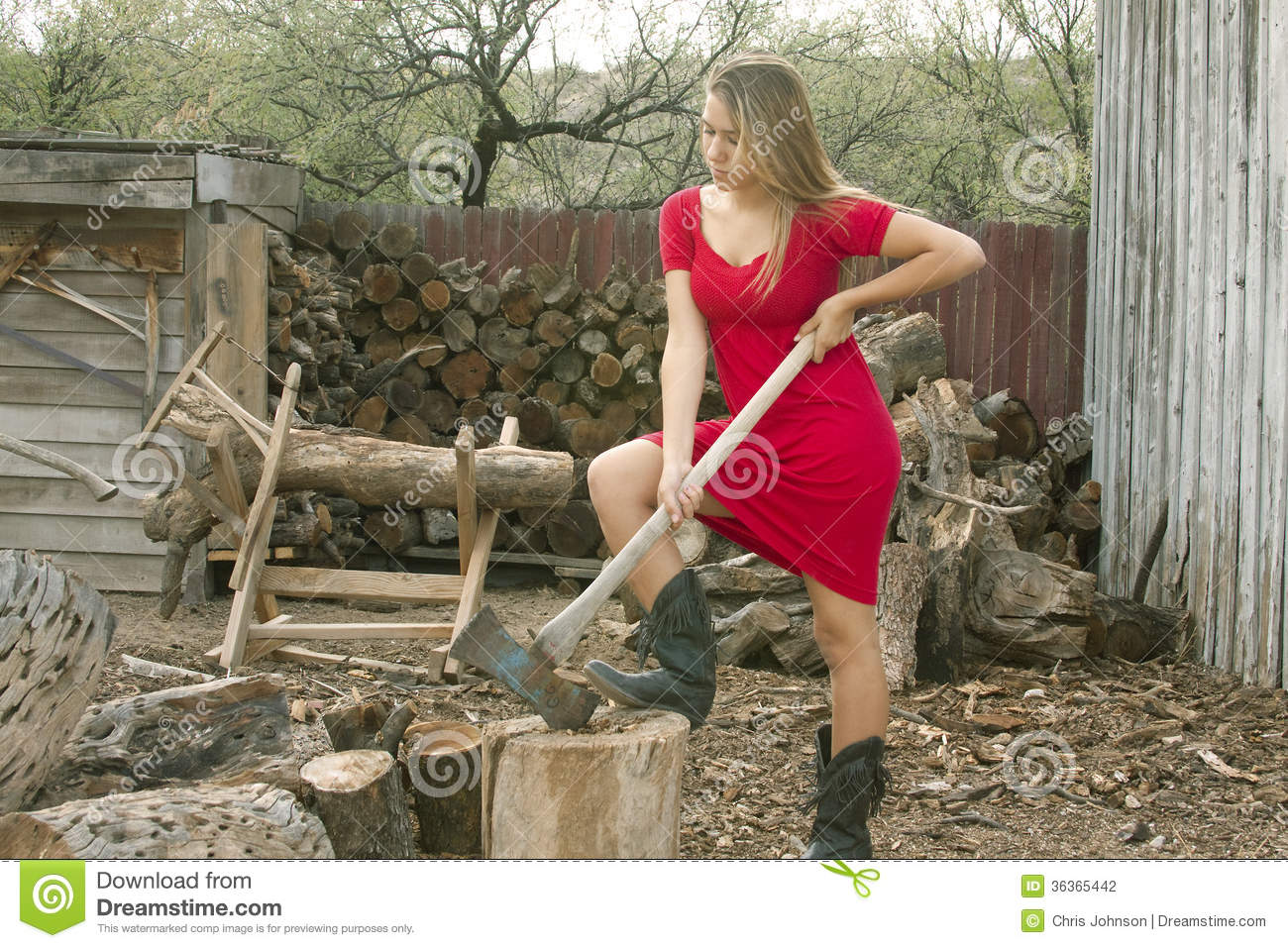 Girl Chopping Firewood Stock Photo Image Of Models Axes
