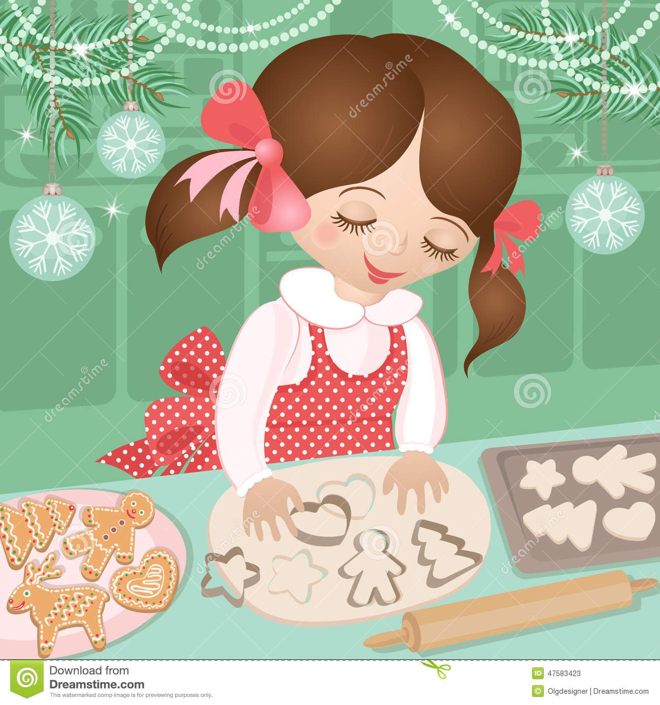 Girl And Christmas Baking Ginger Cookies Stock Vector