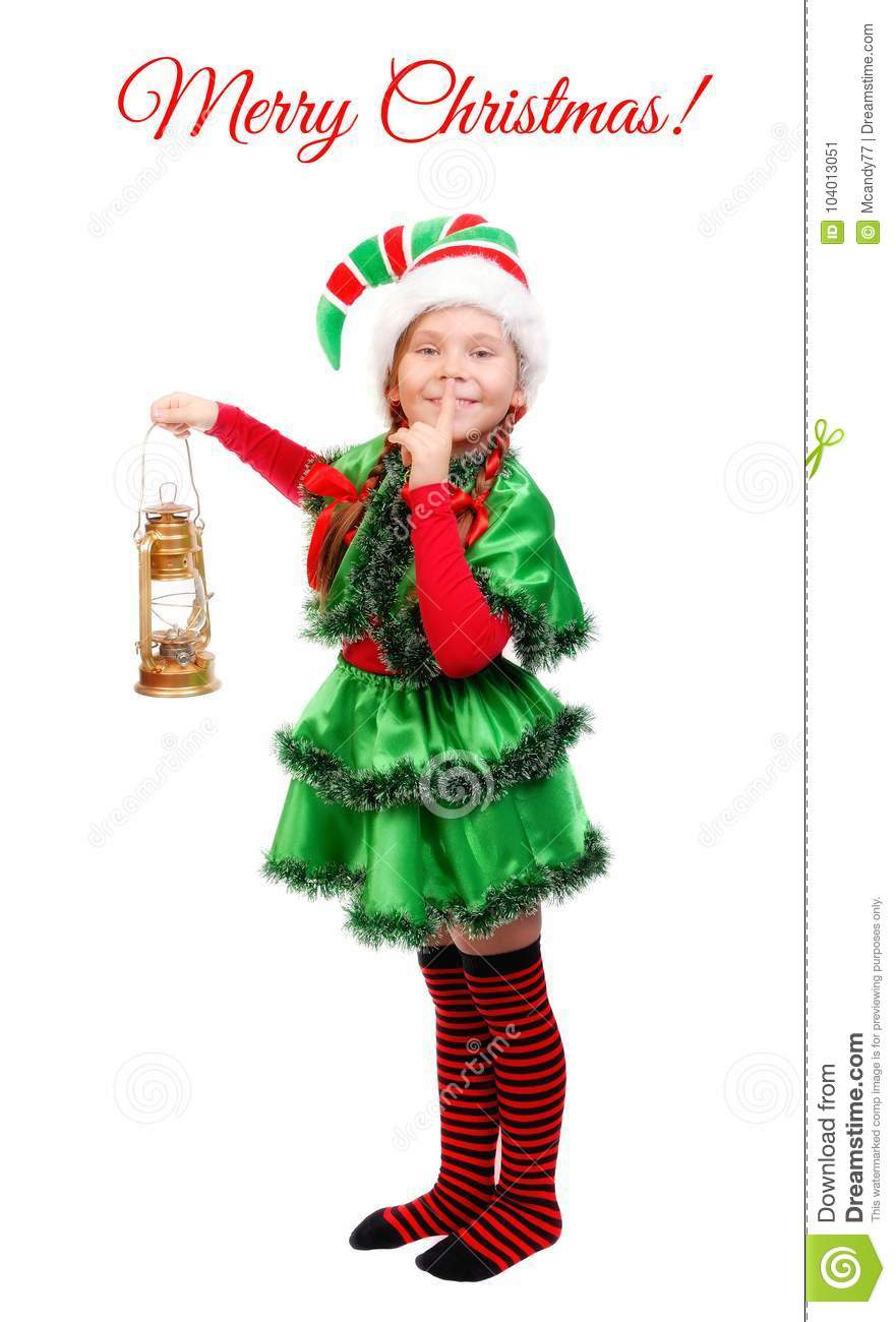 Girl Christmas Elf With Oil Lamp Over White Stock Image - Image of ...