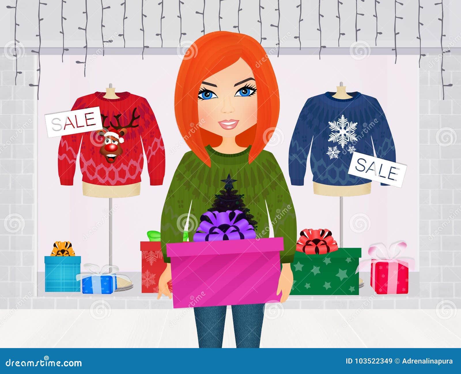 Girl Christmas shopping stock illustration. Illustration of retail ...