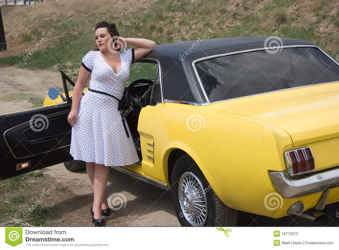 girl and classic car stock photo. image of nature, road - 16770272