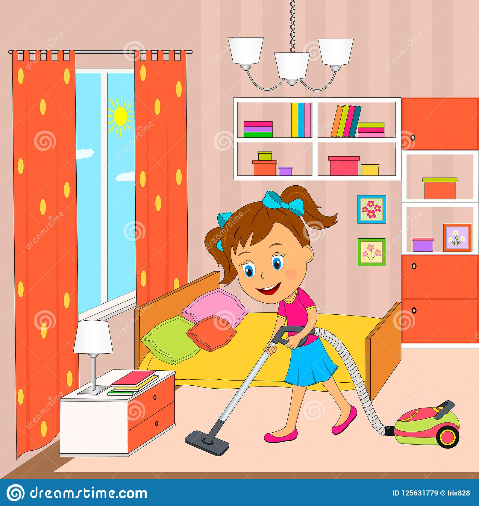 Room Clip Art: Cleaning Bedroom Stock Illustrations