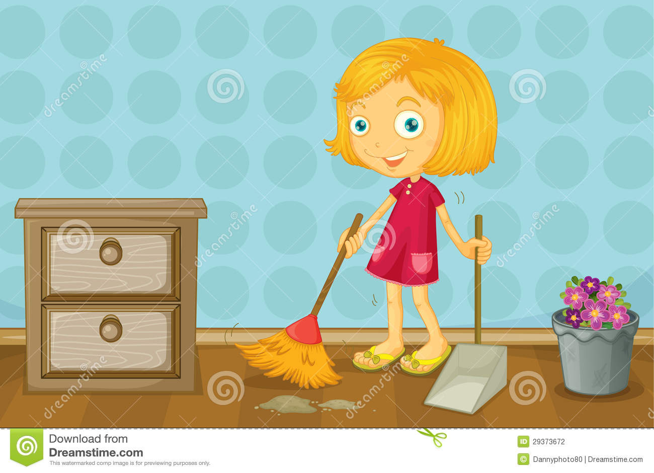 A girl cleaning a room stock illustration. Illustration of cartoon ...