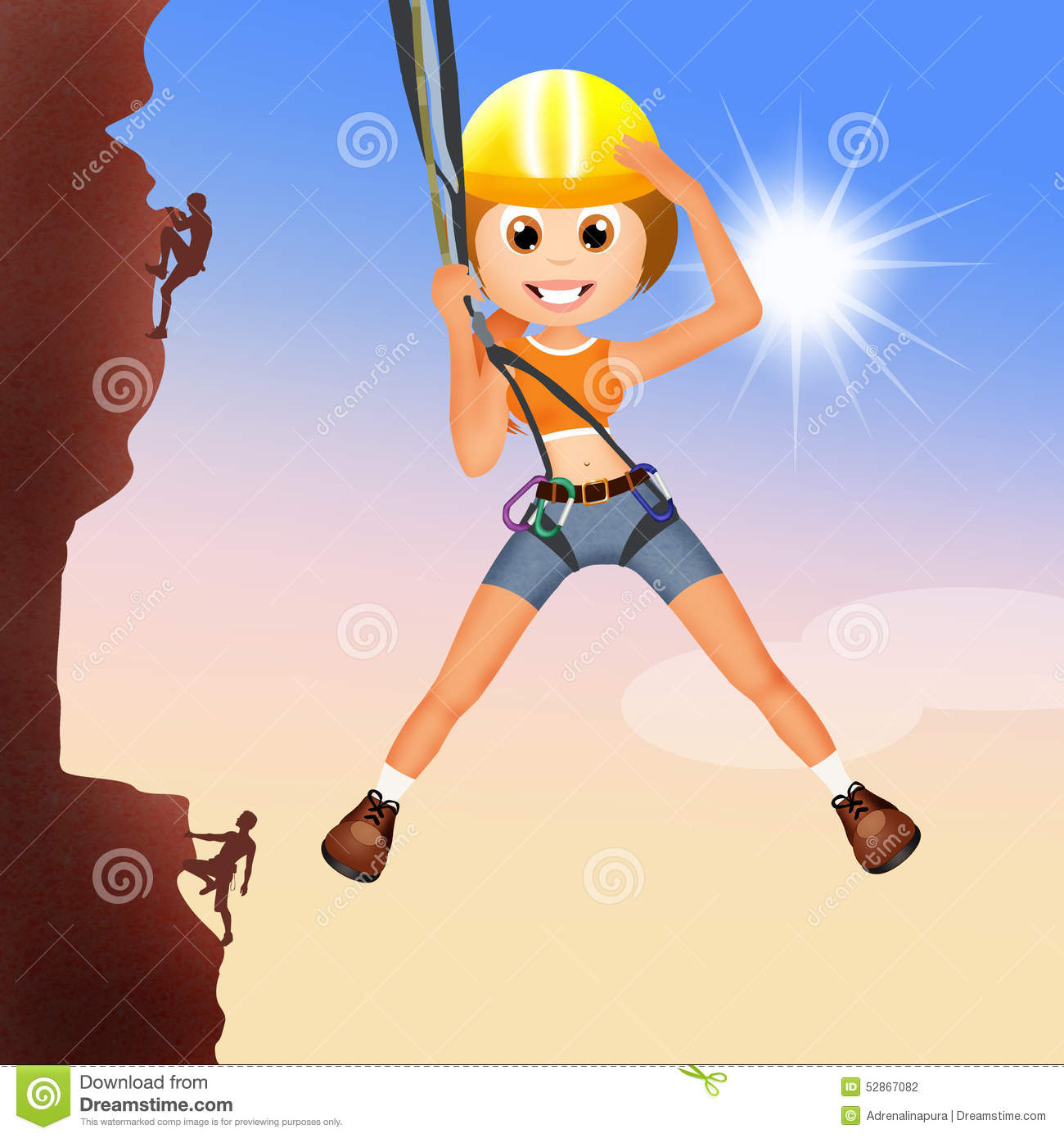 Girl climber on mountain stock illustration. Illustration ...