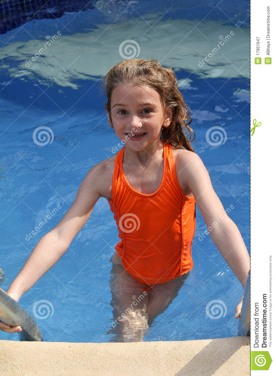 Girl Climbing Out Of Pool Royalty Free Stock Photography Image 17951647