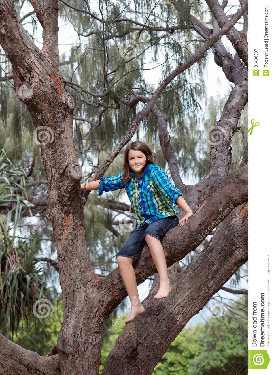 Girl Climbing Tree Royalty Free Stock Photography Image