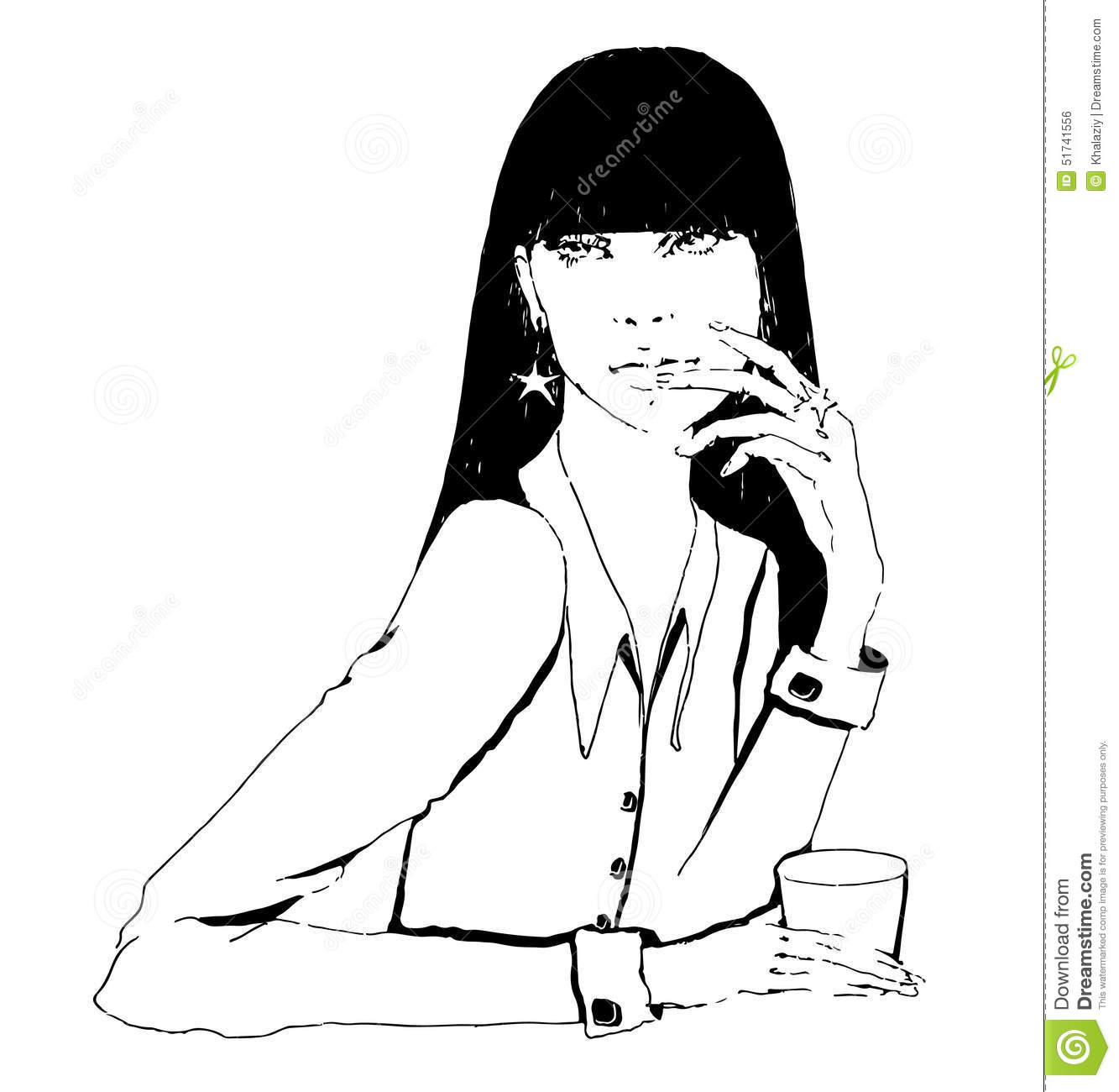 Girl with coffee stock vector illustration of female 51741556