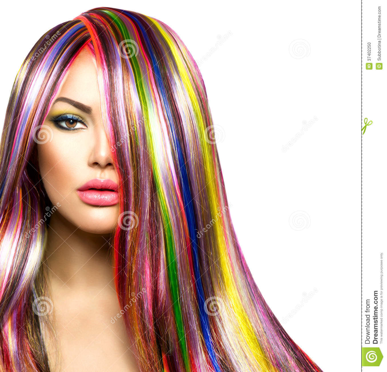 Girl With Colorful Dyed Hair Stock Photo