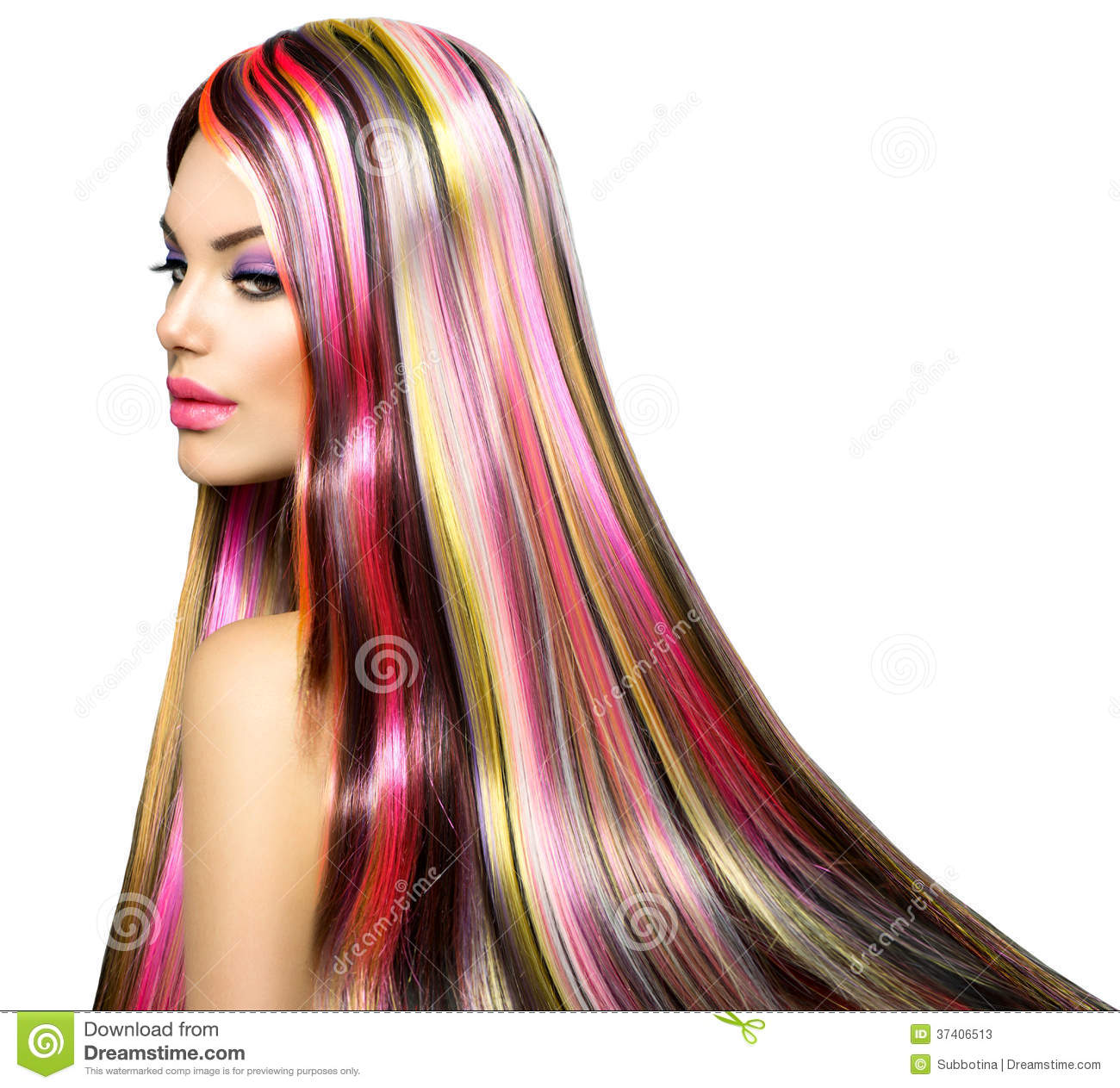 Beautiful fashion model girl with colorful hair stripes Ciaafrique fashion beauty style