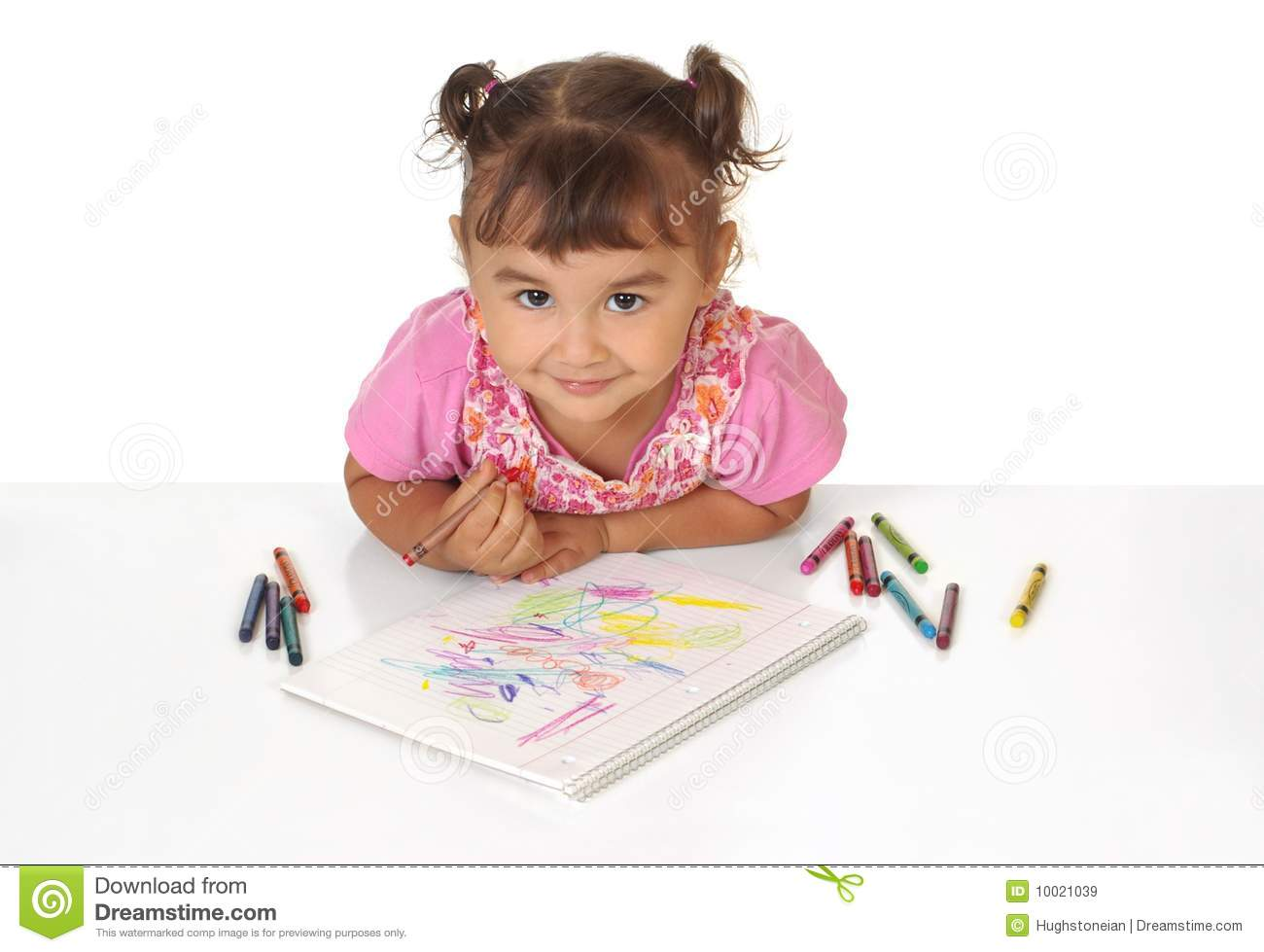 girl coloring with crayons stock image image of view 10021039