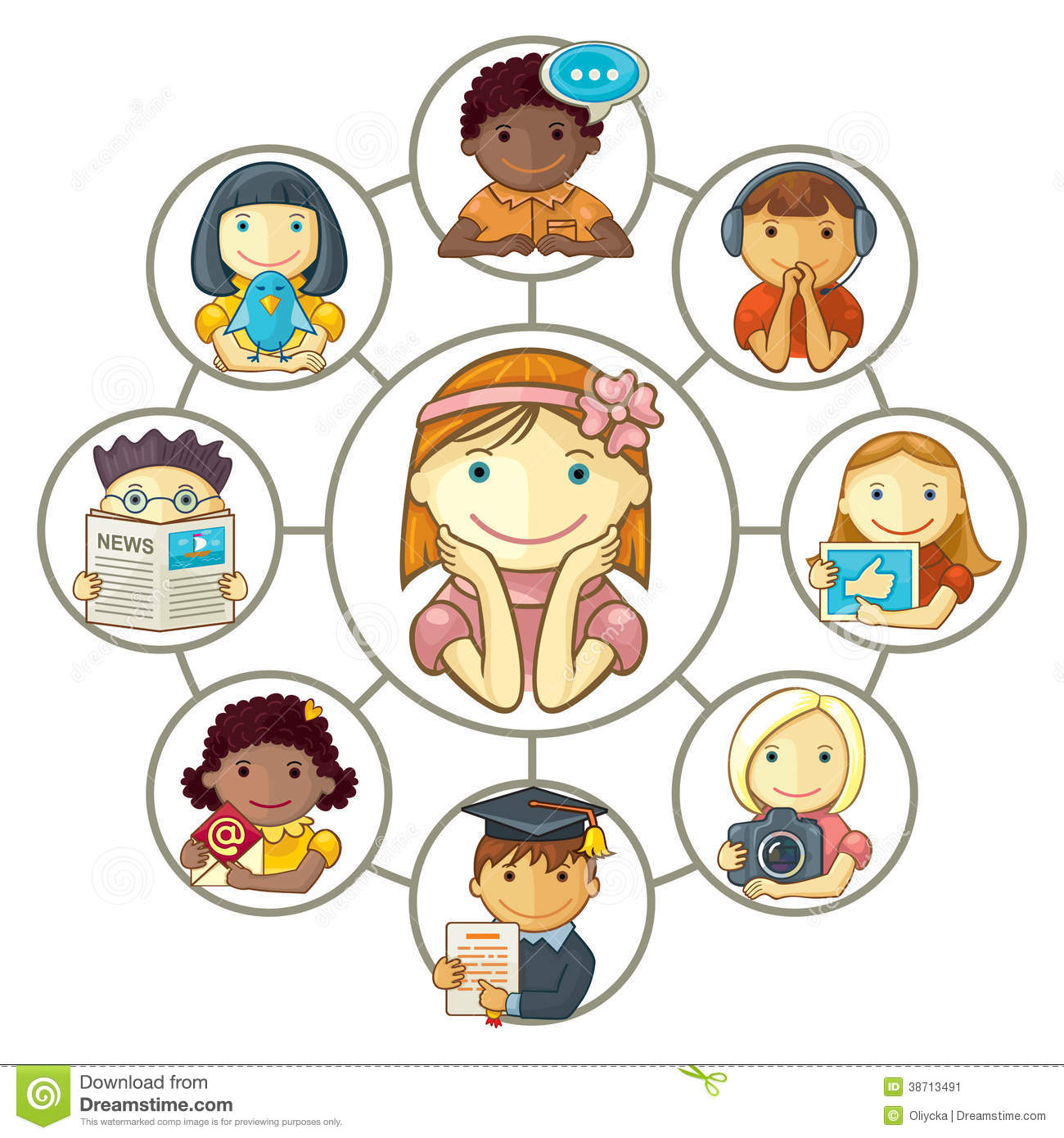 Group Of 6 Cartoon Characters : Girl connected through social media with friends stock