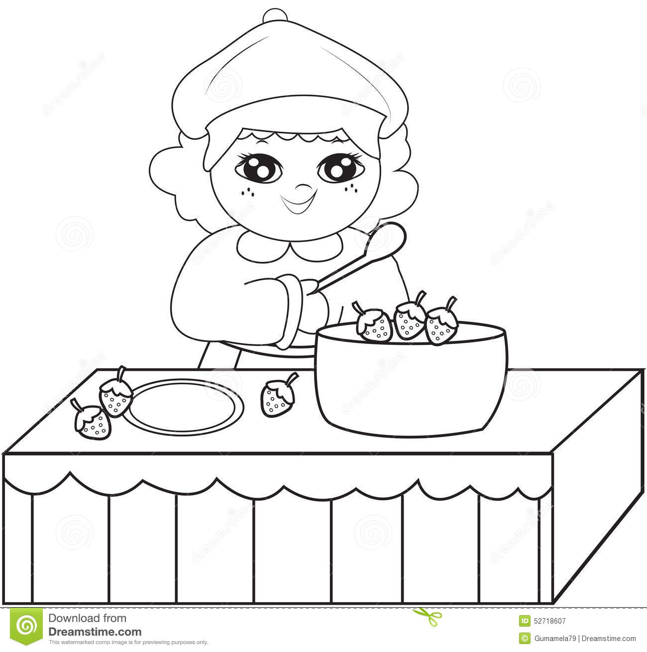 Girl Cooking Coloring Page Stock Illustration