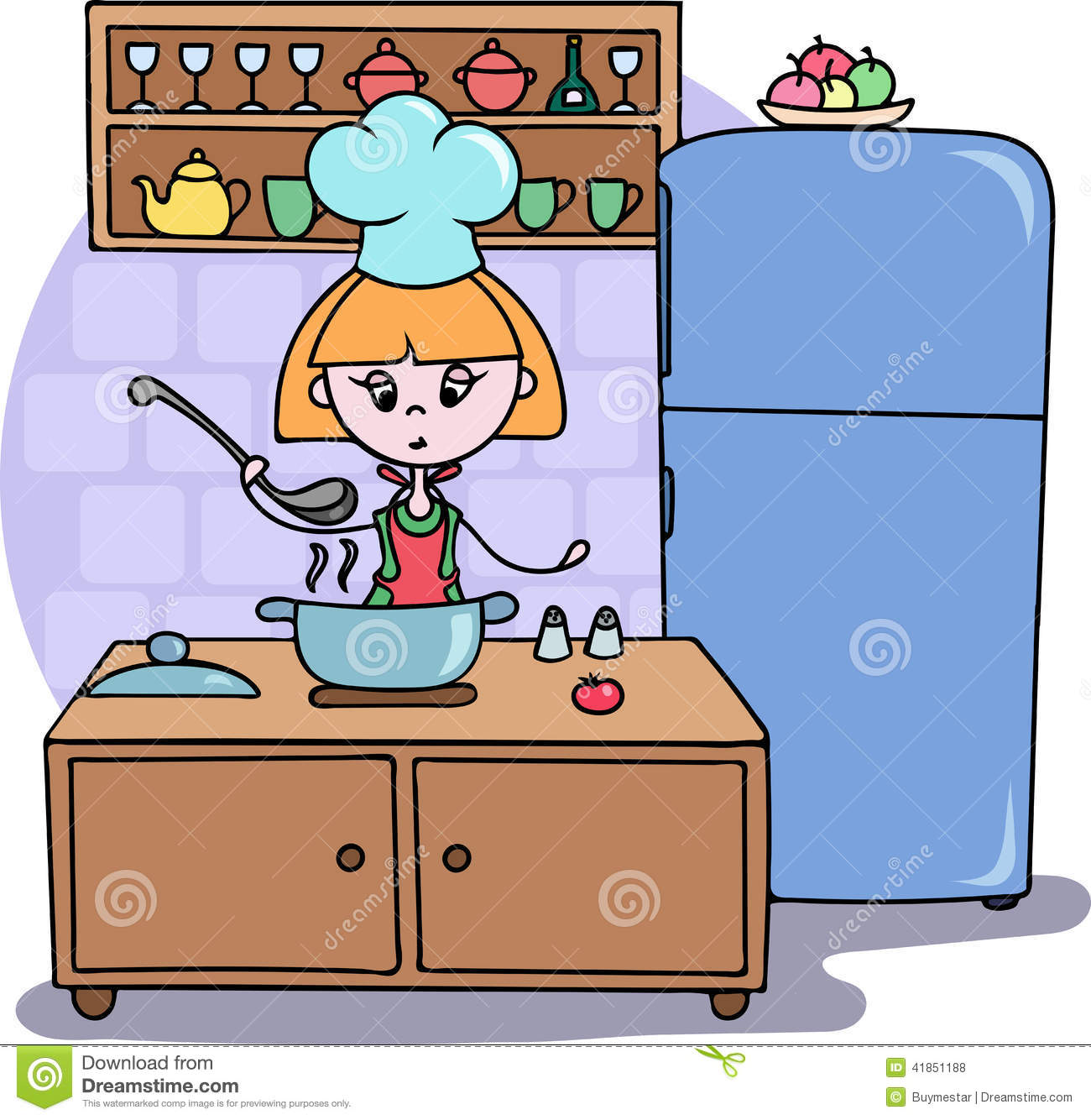 girl cooking dinner on the kitchen vector cartoon illustration stock
